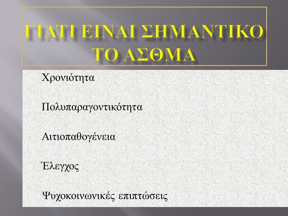 1. Χρονιότητα 2. Πολυπαραγοντικότητα 3. Αιτιοπαθογένεια 4. Έλεγχος Ψυχοκοινωνικές επιπτώσεις