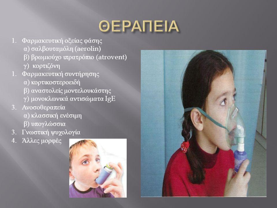 1.Φαρμακευτική οξείας φάσης α) σαλβουταμόλη ( aerolin) β) βρωμιούχο ιπρατρόπιο ( atrovent) γ) κορτιζόνη 1.Φαρμακευτική συντήρησης α) κορτικοστεροειδή
