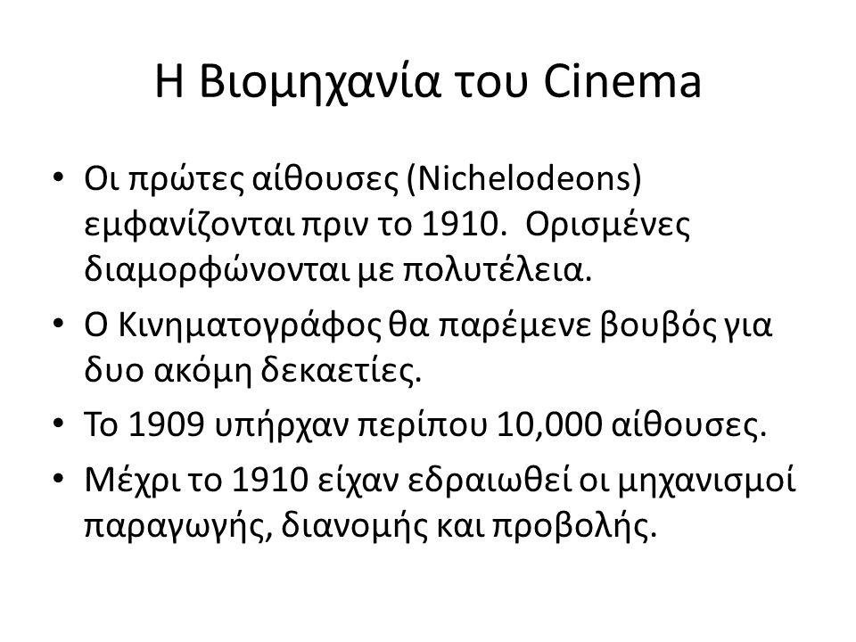 Η Βιομηχανία του Cinema Οι πρώτες αίθουσες (Nichelodeons) εμφανίζονται πριν το 1910. Ορισμένες διαμορφώνονται με πολυτέλεια. Ο Κινηματογράφος θα παρέμ