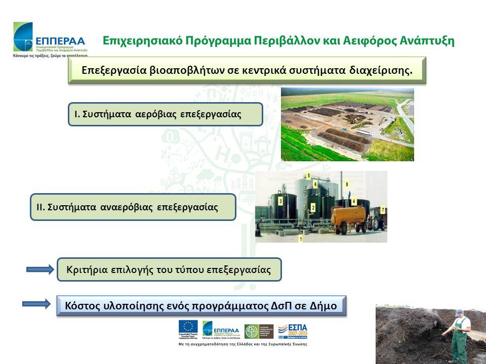 Επεξεργασία βιοαποβλήτων σε κεντρικά συστήματα διαχείρισης. Κριτήρια επιλογής του τύπου επεξεργασίας Ι. Συστήματα αερόβιας επεξεργασίας ΙΙ. Συστήματα