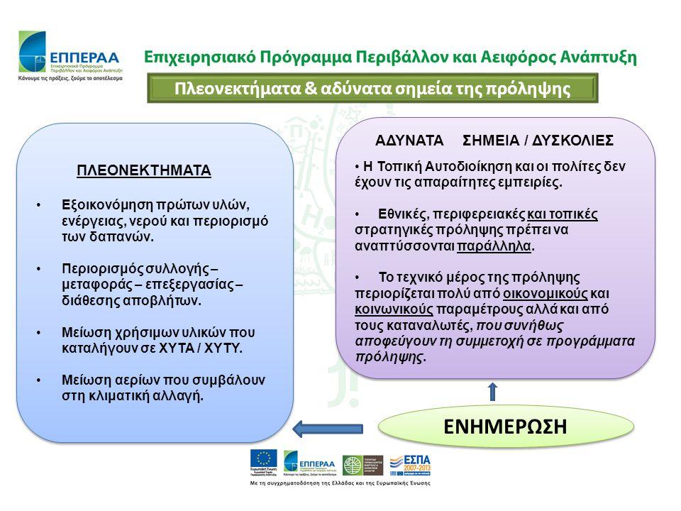 ΠΛΕΟΝΕΚΤΗΜΑΤΑ Εξοικονόμηση πρώτων υλών, ενέργειας, νερού και περιορισμό των δαπανών. Περιορισμός συλλογής – μεταφοράς – επεξεργασίας – διάθεσης αποβλή