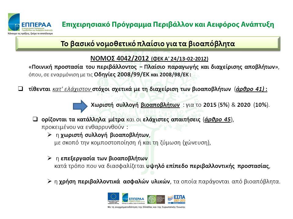 ΝΟΜΟΣ 4042/2012 (ΦΕΚ Α 24/13-02-2012) « Ποινική προστασία του περιβάλλοντος − Πλαίσιο παραγωγής και διαχείρισης αποβλήτων », όπου, σε εναρμόνιση με τις Οδηγίες 2008/99/ΕΚ και 2008/98/ΕΚ :  τίθενται κατ ελάχιστον στόχοι σχετικά με τη διαχείριση των βιοαποβλήτων (άρθρο 41) : Χωριστή συλλογή βιοαποβλήτων : για το 2015 (5%) & 2020 (10%).