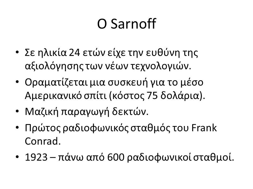 O Sarnoff Σε ηλικία 24 ετών είχε την ευθύνη της αξιολόγησης των νέων τεχνολογιών. Οραματίζεται μια συσκευή για το μέσο Αμερικανικό σπίτι (κόστος 75 δο