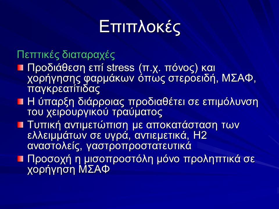 Επιπλοκές Πεπτικές διαταραχές Προδιάθεση επί stress (π.χ.