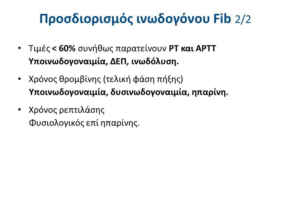 Προσδιορισμός ινωδογόνου Fib 2/2 Τιμές < 60% συνήθως παρατείνουν ΡΤ και ΑΡΤΤ Υποινωδογοναιμία, ΔΕΠ, ινωδόλυση. Χρόνος θρομβίνης (τελική φάση πήξης) Υπ
