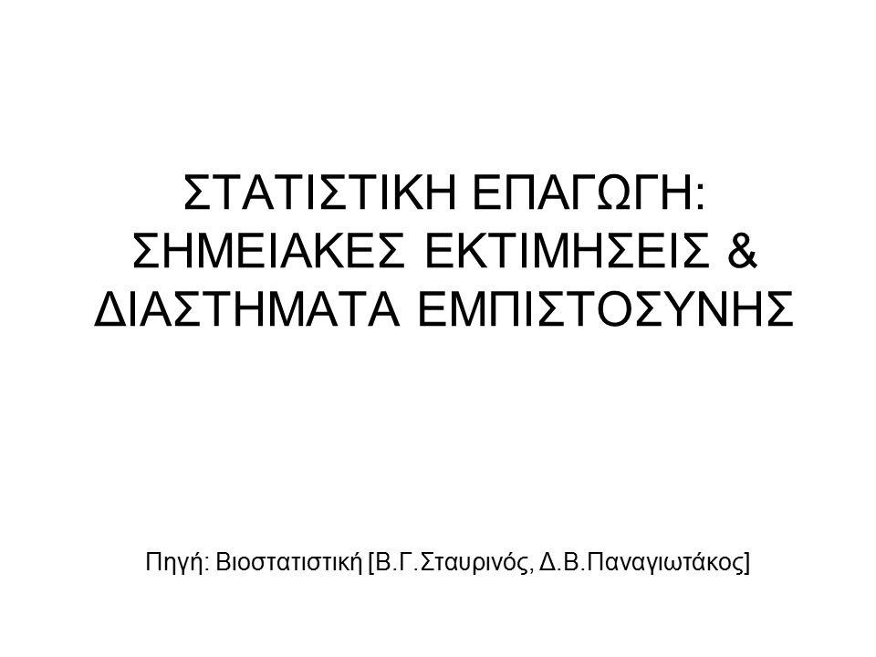 ΣΤΑΤΙΣΤΙΚΗ ΕΠΑΓΩΓΗ: ΣΗΜΕΙΑΚΕΣ ΕΚΤΙΜΗΣΕΙΣ & ΔΙΑΣΤΗΜΑΤΑ ΕΜΠΙΣΤΟΣΥΝΗΣ Πηγή: Βιοστατιστική [Β.Γ.Σταυρινός, Δ.Β.Παναγιωτάκος]