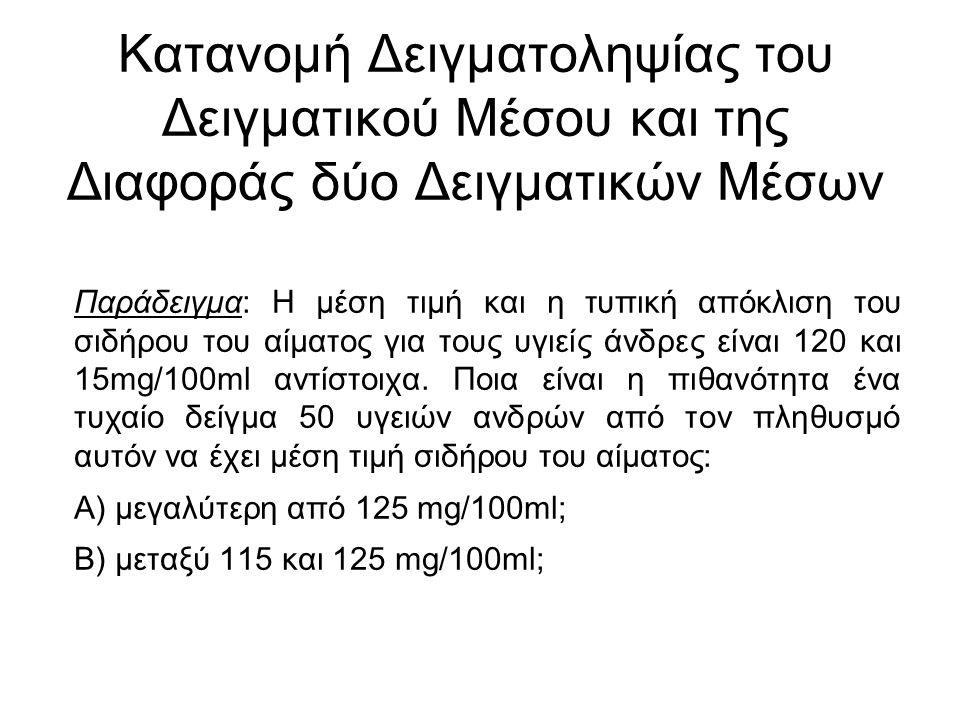 Παράδειγμα: Η μέση τιμή και η τυπική απόκλιση του σιδήρου του αίματος για τους υγιείς άνδρες είναι 120 και 15mg/100ml αντίστοιχα.