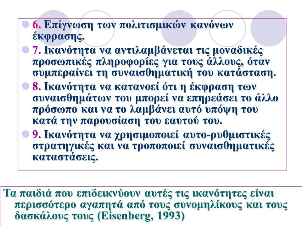 6.Επίγνωση των πολιτισμικών κανόνων έκφρασης. 6. Επίγνωση των πολιτισμικών κανόνων έκφρασης. 7. Ικανότητα να αντιλαμβάνεται τις μοναδικές προσωπικές π