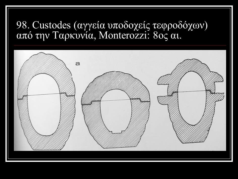 98. Custodes (αγγεία υποδοχείς τεφροδόχων) από την Ταρκυνία, Monterozzi: 8ος αι.