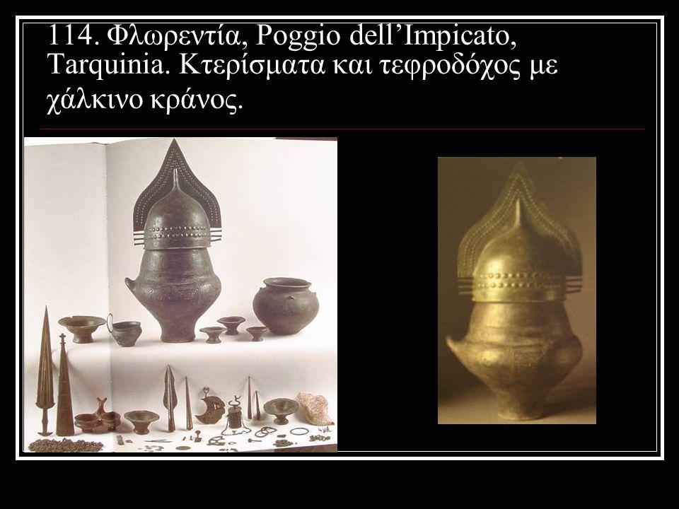 114. Φλωρεντία, Poggio dell'Impicato, Tarquinia. Κτερίσματα και τεφροδόχος με χάλκινο κράνος.