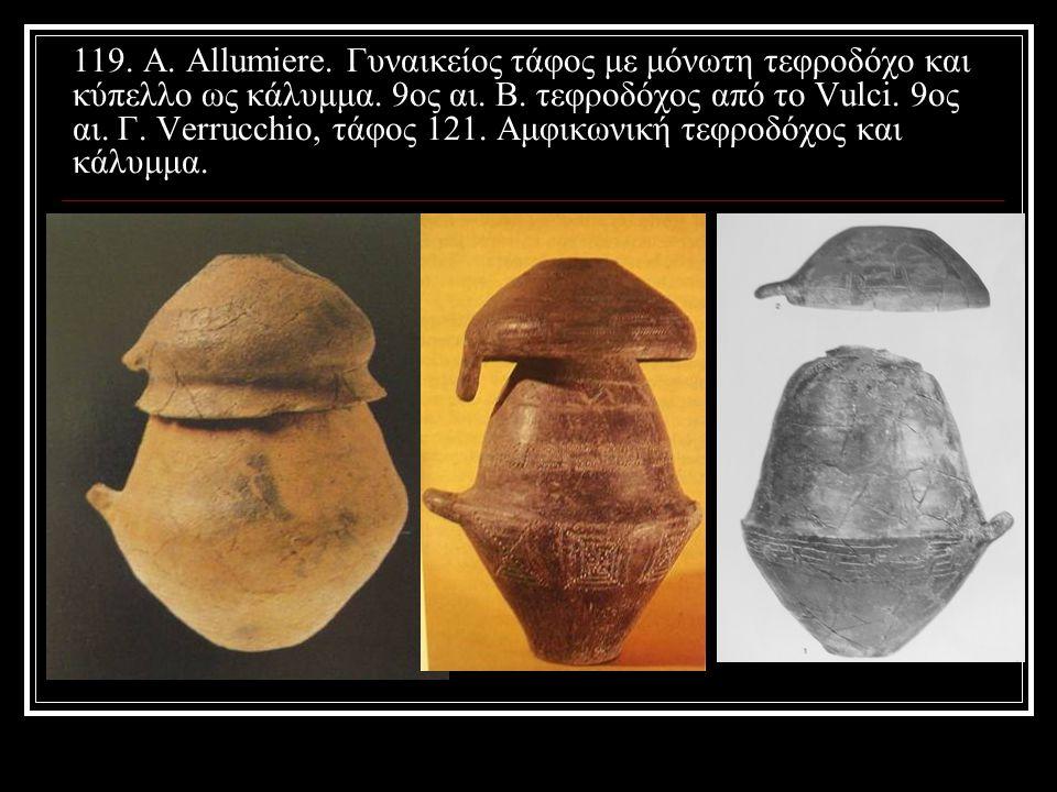 119. Α. Allumiere. Γυναικείος τάφος με μόνωτη τεφροδόχο και κύπελλο ως κάλυμμα. 9ος αι. Β. τεφροδόχος από το Vulci. 9oς αι. Γ. Verrucchio, τάφος 121.