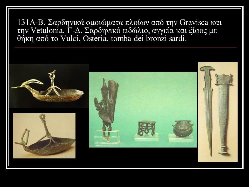 131A-B. Σαρδηνικά ομοιώματα πλοίων από την Gravisca και την Vetulonia. Γ-Δ. Σαρδηνικό ειδώλιο, αγγεία και ξίφος με θήκη από το Vulci, Osteria, tomba d