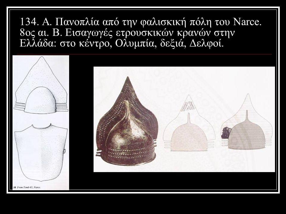 134. Α. Πανοπλία από την φαλισκική πόλη του Narce. 8ος αι. Β. Εισαγωγές ετρουσκικών κρανών στην Ελλάδα: στο κέντρο, Ολυμπία, δεξιά, Δελφοί.