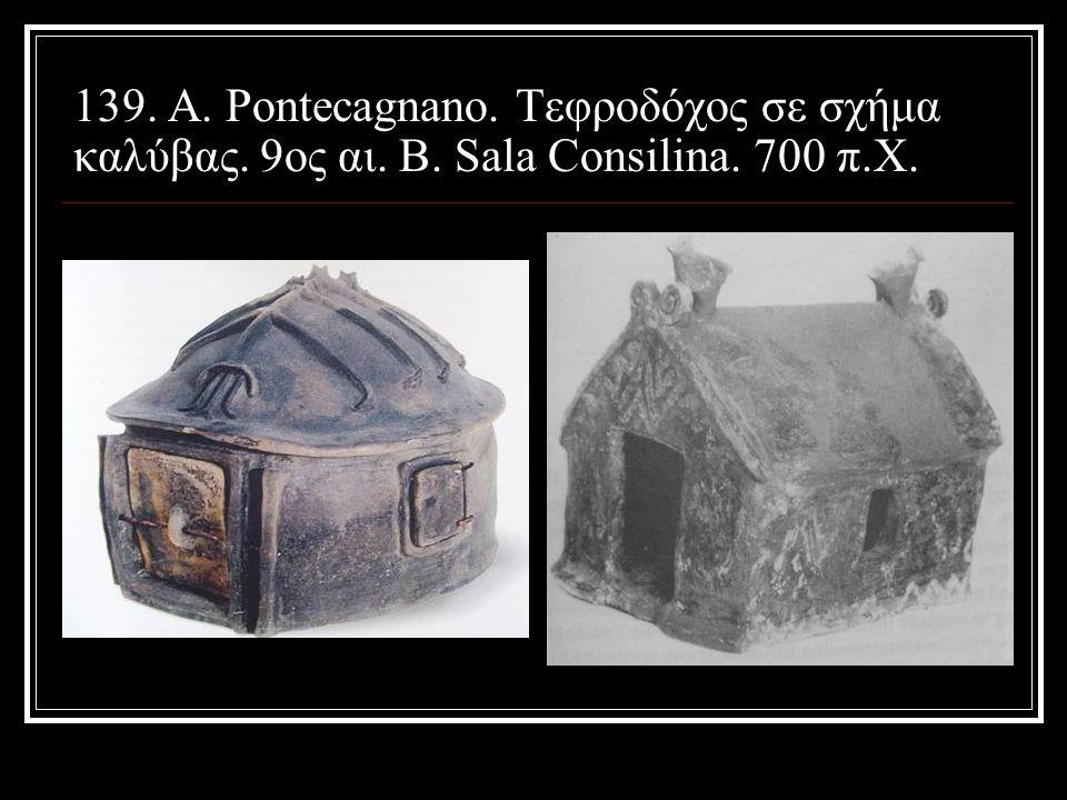 139. Α. Pontecagnano. Τεφροδόχος σε σχήμα καλύβας. 9ος αι. Β. Sala Consilina. 700 π.Χ.