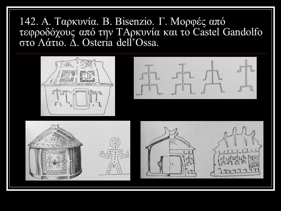 142. Α. Ταρκυνία. Β. Bisenzio. Γ. Μορφές από τεφροδόχους από την ΤΑρκυνία και το Castel Gandolfo στο Λάτιο. Δ. Osteria dell'Ossa.