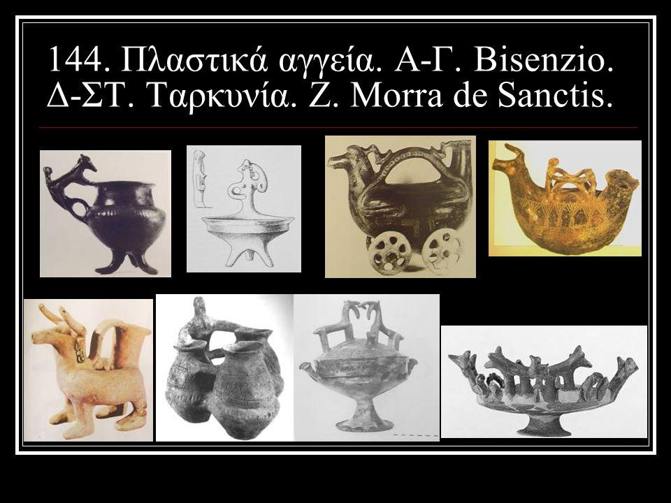 144. Πλαστικά αγγεία. Α-Γ. Bisenzio. Δ-ΣΤ. Ταρκυνία. Ζ. Morra de Sanctis.