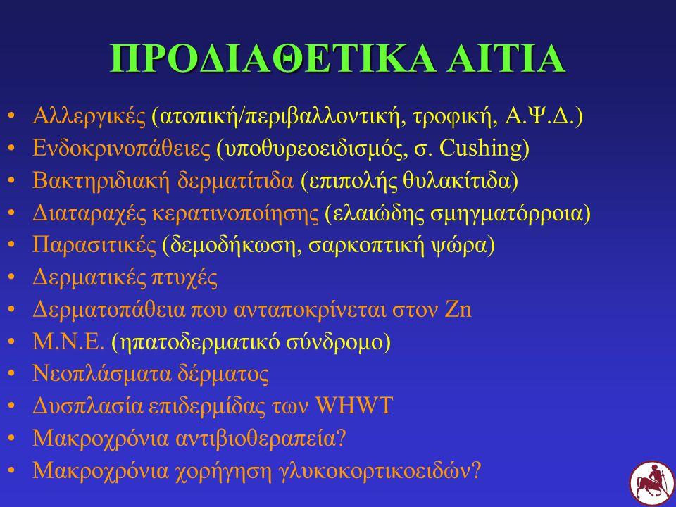 ΠΡΟΔΙΑΘΕΤΙΚΑ ΑΙΤΙΑ Αλλεργικές (ατοπική/περιβαλλοντική, τροφική, Α.Ψ.Δ.) Ενδοκρινοπάθειες (υποθυρεοειδισμός, σ. Cushing) Βακτηριδιακή δερματίτιδα (επιπ