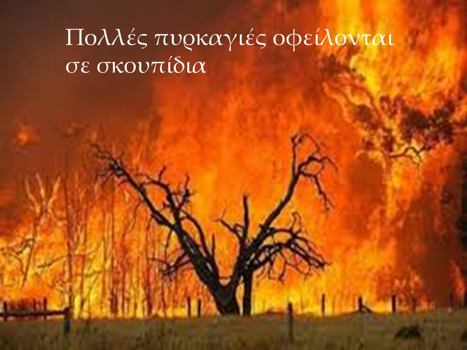 Πολλές πυρκαγιές οφείλονται σε σκουπίδια