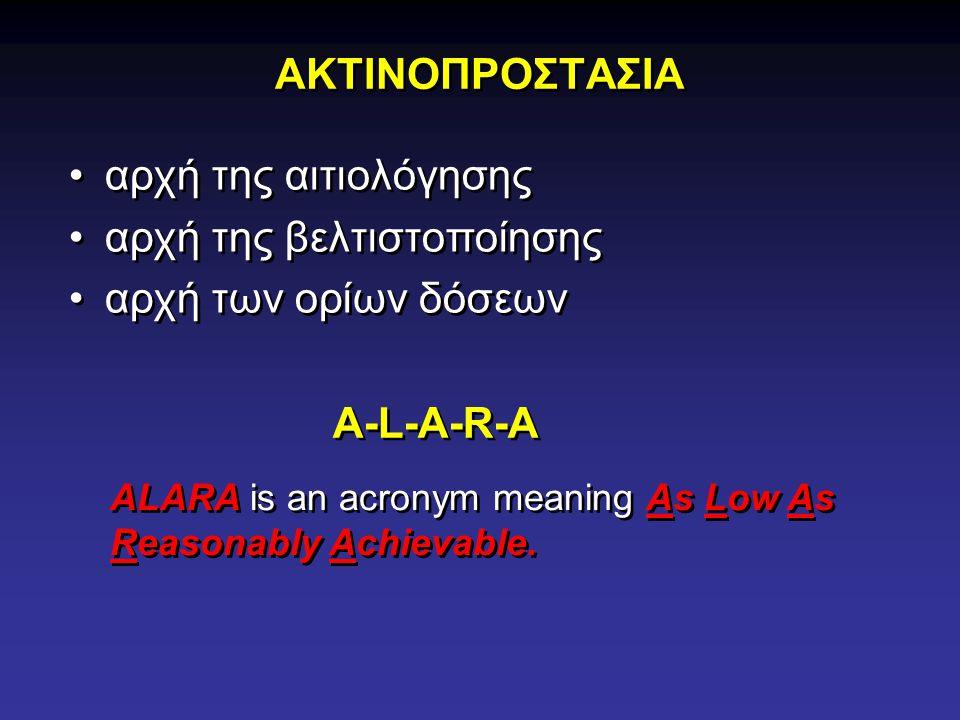 ΑΚΤΙΝΟΠΡΟΣΤΑΣΙΑ αρχή της αιτιολόγησης αρχή της βελτιστοποίησης αρχή των ορίων δόσεων αρχή της αιτιολόγησης αρχή της βελτιστοποίησης αρχή των ορίων δόσεων A-L-A-R-A ALARA is an acronym meaning As Low As Reasonably Achievable.