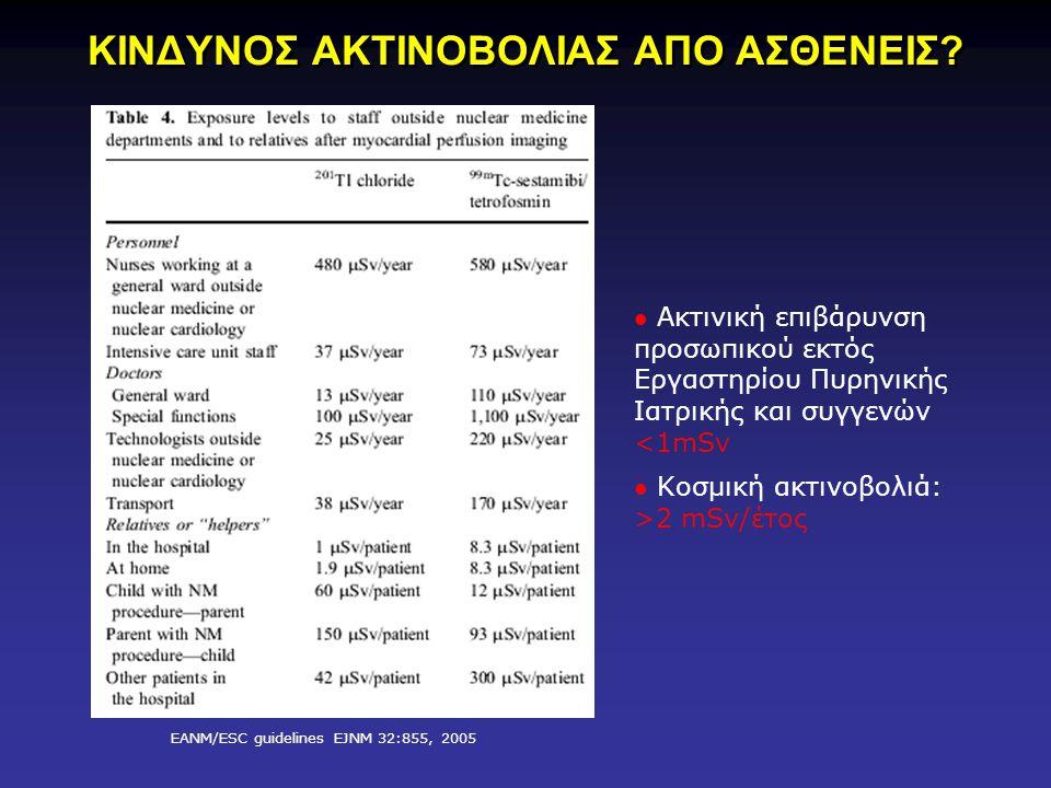 EANM/ESC guidelines EJNM 32:855, 2005 Ακτινική επιβάρυνση προσωπικού εκτός Εργαστηρίου Πυρηνικής Ιατρικής και συγγενών <1mSv Κοσμική ακτινοβολιά: >2 mSv/έτος ΚΙΝΔΥΝΟΣ ΑΚΤΙΝΟΒΟΛΙΑΣ ΑΠΟ ΑΣΘΕΝΕΙΣ?