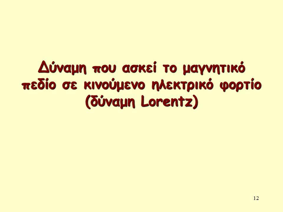 12 Δύναμη που ασκεί το μαγνητικό πεδίο σε κινούμενο ηλεκτρικό φορτίο (δύναμη Lorentz)