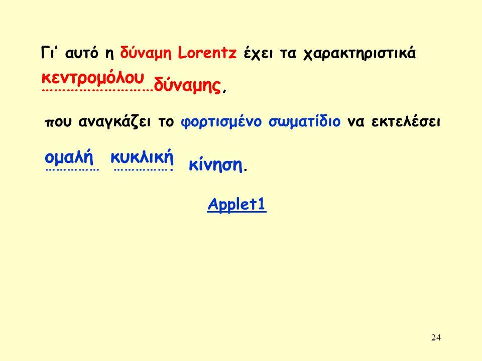 24 ομαλή κυκλική Γι' αυτό η δύναμη Lorentz έχει τα χαρακτηριστικά ………………………δύναμης, κεντρομόλου που αναγκάζει το φορτισμένο σωματίδιο να εκτελέσει ………