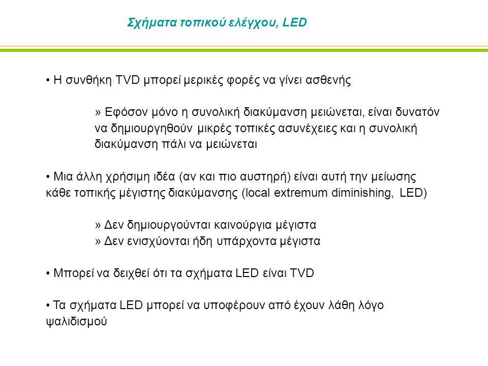 Σχήματα τοπικού ελέγχου, LED Η συνθήκη TVD μπορεί μερικές φορές να γίνει ασθενής » Εφόσον μόνο η συνολική διακύμανση μειώνεται, είναι δυνατόν να δημιουργηθούν μικρές τοπικές ασυνέχειες και η συνολική διακύμανση πάλι να μειώνεται Μια άλλη χρήσιμη ιδέα (αν και πιο αυστηρή) είναι αυτή την μείωσης κάθε τοπικής μέγιστης διακύμανσης (local extremum diminishing, LED) » Δεν δημιουργούνται καινούργια μέγιστα » Δεν ενισχύονται ήδη υπάρχοντα μέγιστα Μπορεί να δειχθεί ότι τα σχήματα LED είναι TVD Τα σχήματα LED μπορεί να υποφέρουν από έχουν λάθη λόγο ψαλιδισμού