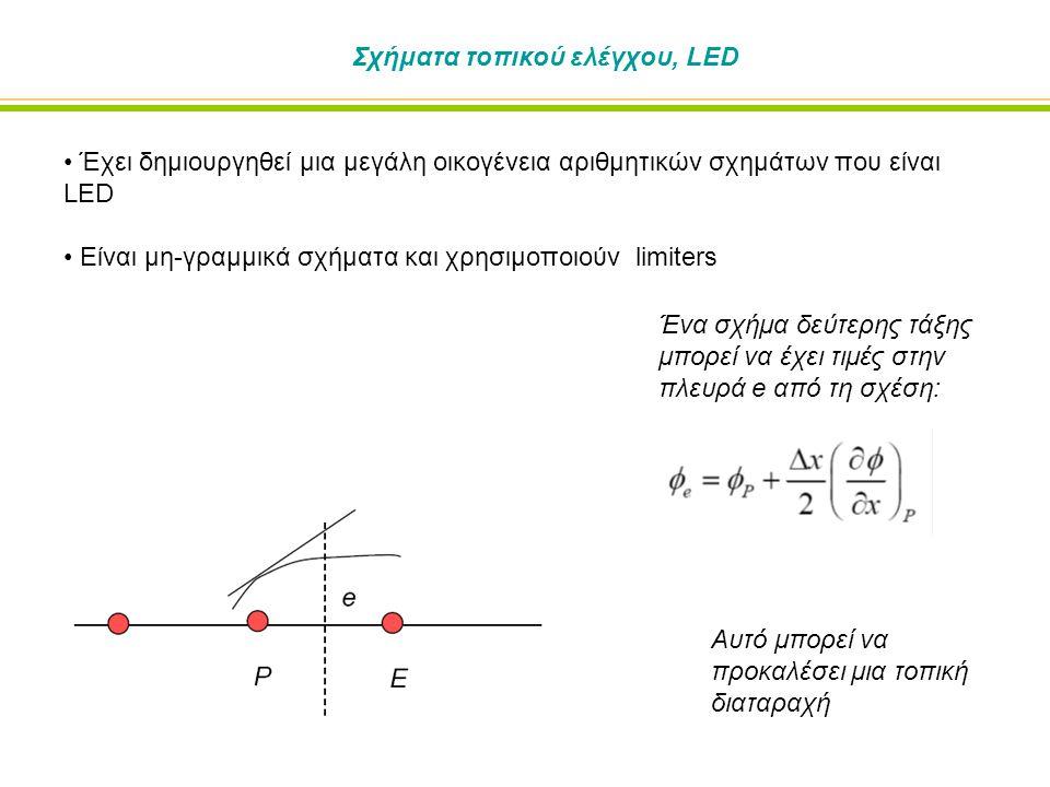 Σχήματα τοπικού ελέγχου, LED Έχει δημιουργηθεί μια μεγάλη οικογένεια αριθμητικών σχημάτων που είναι LED Είναι μη-γραμμικά σχήματα και χρησιμοποιούν limiters Ένα σχήμα δεύτερης τάξης μπορεί να έχει τιμές στην πλευρά e από τη σχέση: Αυτό μπορεί να προκαλέσει μια τοπική διαταραχή