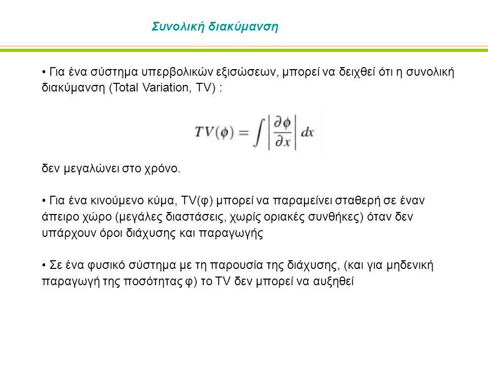 Συνολική διακύμανση Για ένα σύστημα υπερβολικών εξισώσεων, μπορεί να δειχθεί ότι η συνολική διακύμανση (Total Variation, TV) : δεν μεγαλώνει στο χρόνο.