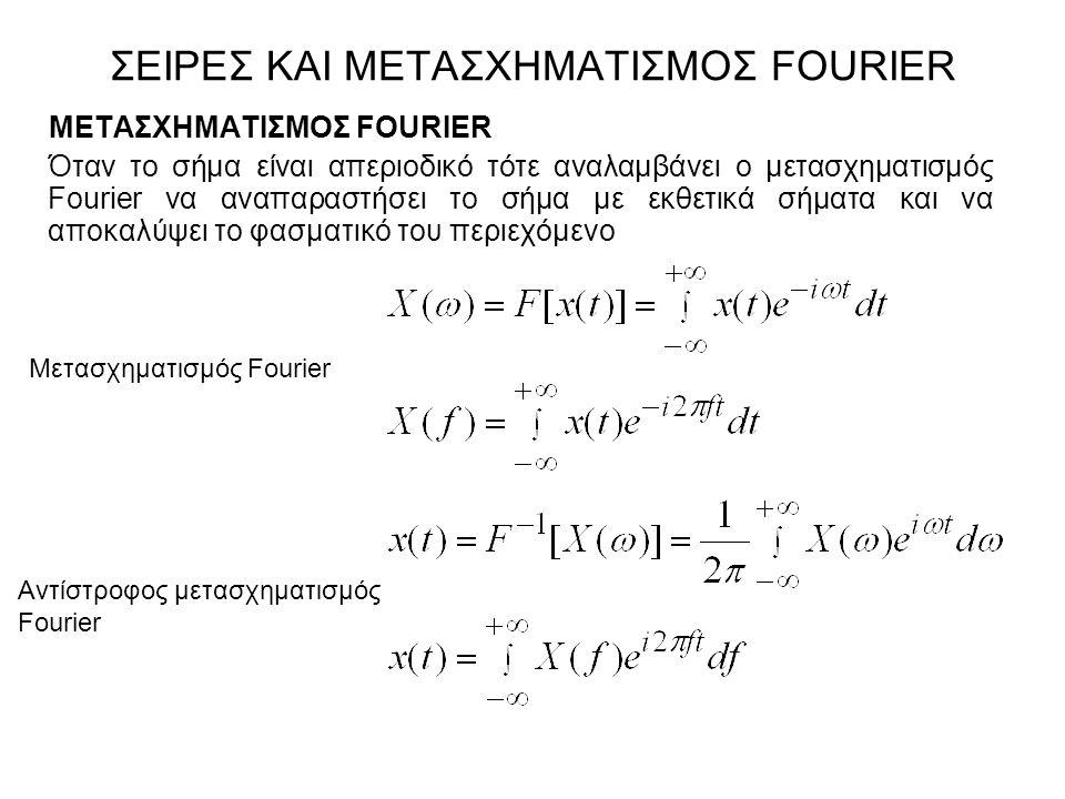 ΜΕΤΑΣΧΗΜΑΤΙΣΜΟΣ FOURIER Όταν το σήμα είναι απεριοδικό τότε αναλαμβάνει ο μετασχηματισμός Fourier να αναπαραστήσει το σήμα με εκθετικά σήματα και να απ