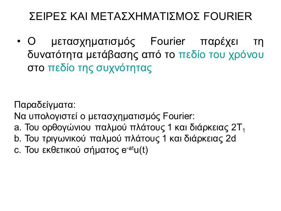 Ο μετασχηματισμός Fourier παρέχει τη δυνατότητα μετάβασης από το πεδίο του χρόνου στο πεδίο της συχνότητας ΣΕΙΡΕΣ ΚΑΙ ΜΕΤΑΣΧΗΜΑΤΙΣΜΟΣ FOURIER Παραδείγ