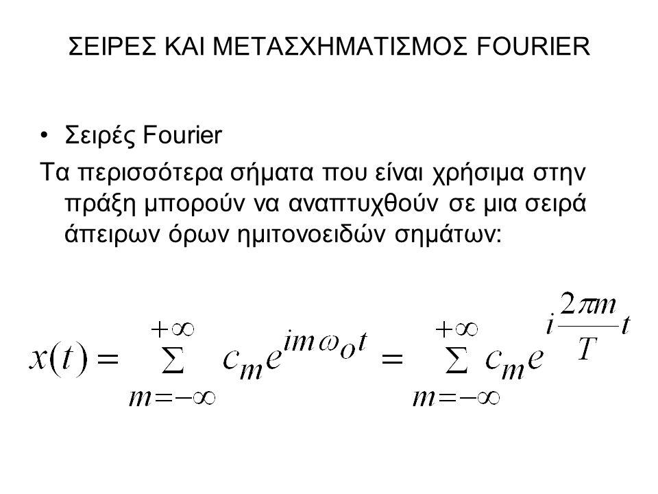 ΣΕΙΡΕΣ ΚΑΙ ΜΕΤΑΣΧΗΜΑΤΙΣΜΟΣ FOURIER Σειρές Fourier Τα περισσότερα σήματα που είναι χρήσιμα στην πράξη μπορούν να αναπτυχθούν σε μια σειρά άπειρων όρων