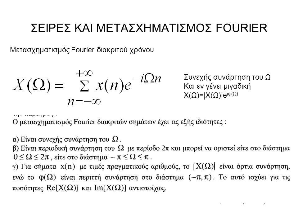 ΣΕΙΡΕΣ ΚΑΙ ΜΕΤΑΣΧΗΜΑΤΙΣΜΟΣ FOURIER Μετασχηματισμός Fourier διακριτού χρόνου Συνεχής συνάρτηση του Ω Και εν γένει μιγαδική Χ(Ω)=|Χ(Ω)|e iφ(Ω)