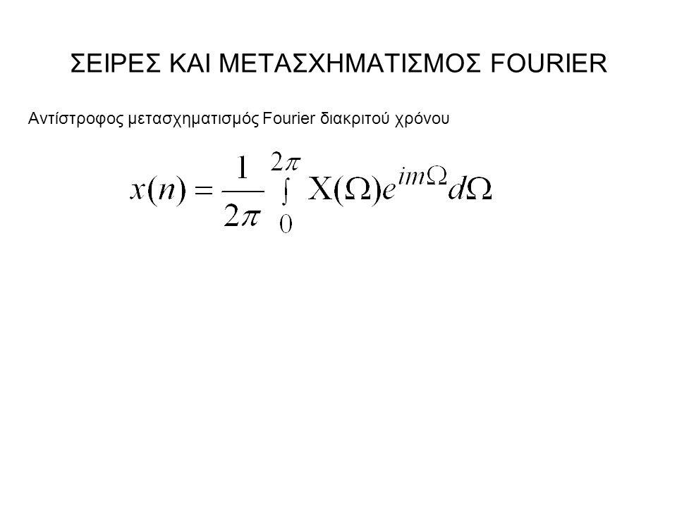 ΣΕΙΡΕΣ ΚΑΙ ΜΕΤΑΣΧΗΜΑΤΙΣΜΟΣ FOURIER Αντίστροφος μετασχηματισμός Fourier διακριτού χρόνου