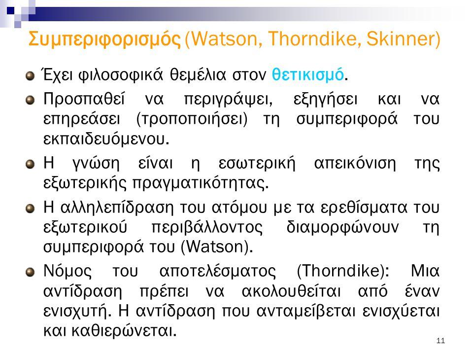 11 Συμπεριφορισμός (Watson, Thorndike, Skinner) Έχει φιλοσοφικά θεμέλια στον θετικισμό. Προσπαθεί να περιγράψει, εξηγήσει και να επηρεάσει (τροποποιήσ