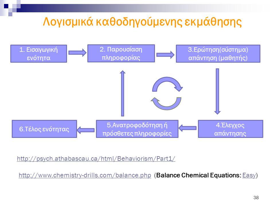 38 1. Εισαγωγική ενότητα 2. Παρουσίαση πληροφορίας 3.Ερώτηση(σύστημα) απάντηση (μαθητής) 6.Τέλος ενότητας 5.Ανατροφοδότηση ή πρόσθετες πληροφορίες 4.Έ