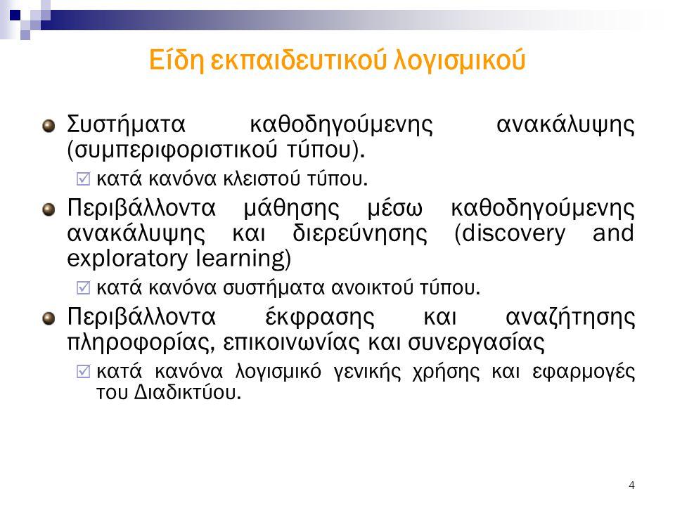 4 Είδη εκπαιδευτικού λογισμικού Συστήματα καθοδηγούμενης ανακάλυψης (συμπεριφοριστικού τύπου).  κατά κανόνα κλειστού τύπου. Περιβάλλοντα μάθησης μέσω