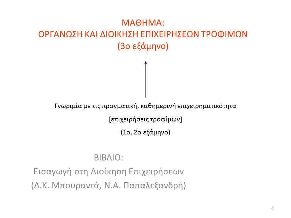 4 ΜΑΘΗΜΑ: ΟΡΓΑΝΩΣΗ ΚΑΙ ΔΙΟΙΚΗΣΗ ΕΠΙΧΕΙΡΗΣΕΩΝ ΤΡΟΦΙΜΩΝ (3ο εξάμηνο) ΒΙΒΛΙΟ: Εισαγωγή στη Διοίκηση Επιχειρήσεων (Δ.Κ. Μπουραντά, Ν.Α. Παπαλεξανδρή) Γνωρ