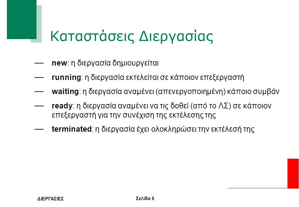 Σελίδα 6 ΔΙΕΡΓΑΣΙΕΣ Αλλαγές Κατάστασης Διεργασίας — running -> waiting -> ready: Μια διεργασία αλλάζει την κατάσταση της από running σε waiting συνήθως όταν περιμένει να τις δοθεί κάποιος πόρος ή επιθυμεί να χρησιμοποιήσει κάποιον πόρο που δεν είναι διαθέσιμος και πρέπει να ελευθερωθεί.