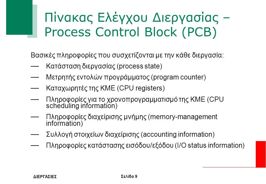 Σελίδα 9 ΔΙΕΡΓΑΣΙΕΣ Πίνακας Ελέγχου Διεργασίας – Process Control Block (PCB) Βασικές πληροφορίες που συσχετίζονται με την κάθε διεργασία: — Κατάσταση