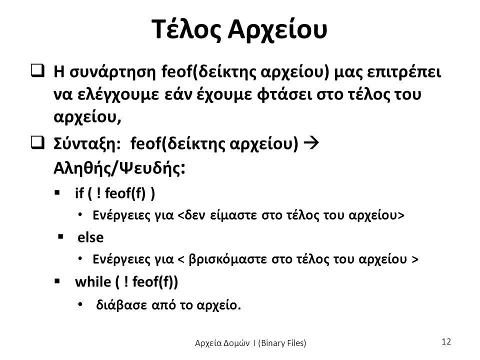 Τέλος Αρχείου  Η συνάρτηση feof(δείκτης αρχείου) μας επιτρέπει να ελέγχουμε εάν έχουμε φτάσει στο τέλος του αρχείου,  Σύνταξη: feof(δείκτης αρχείου)  Αληθής/Ψευδής :  if ( .