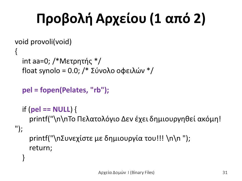 Προβολή Αρχείου (1 από 2) void provoli(void) { int aa=0; /*Μετρητής */ float synolo = 0.0; /* Σύνολο οφειλών */ pel = fopen(Pelates, rb ); if (pel == NULL) { printf( \n\nΤο Πελατολόγιο Δεν έχει δημιουργηθεί ακόμη.
