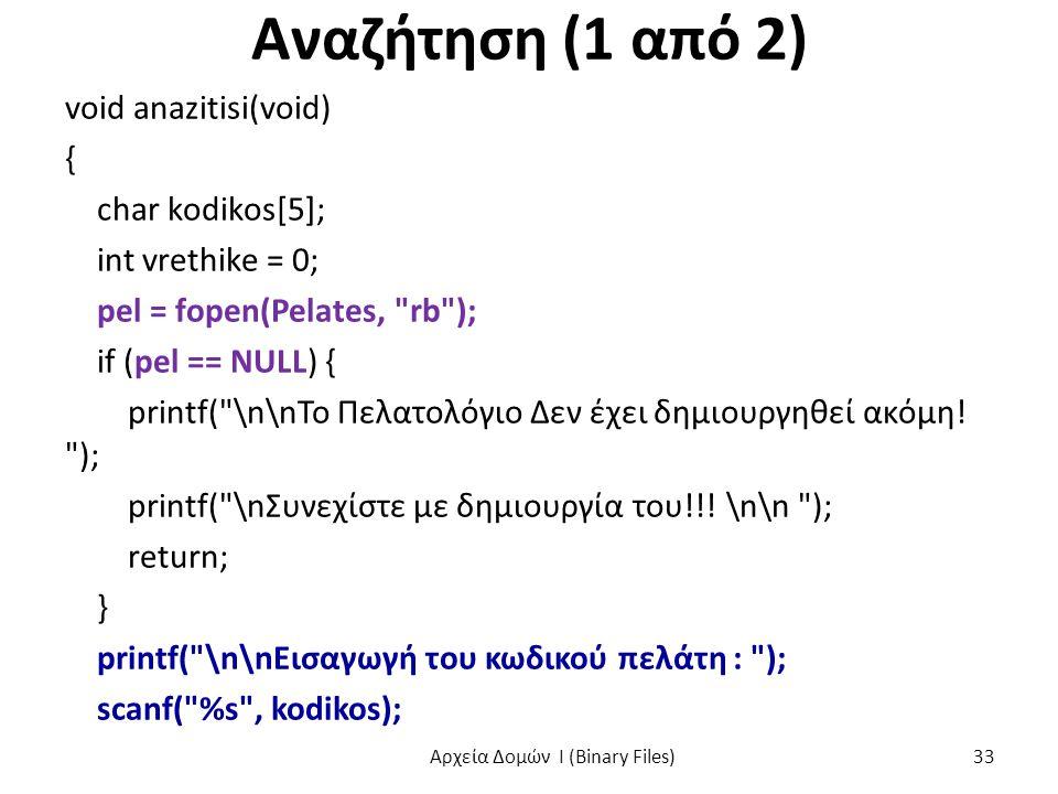 Αναζήτηση (1 από 2) void anazitisi(void) { char kodikos[5]; int vrethike = 0; pel = fopen(Pelates, rb ); if (pel == NULL) { printf( \n\nΤο Πελατολόγιο Δεν έχει δημιουργηθεί ακόμη.