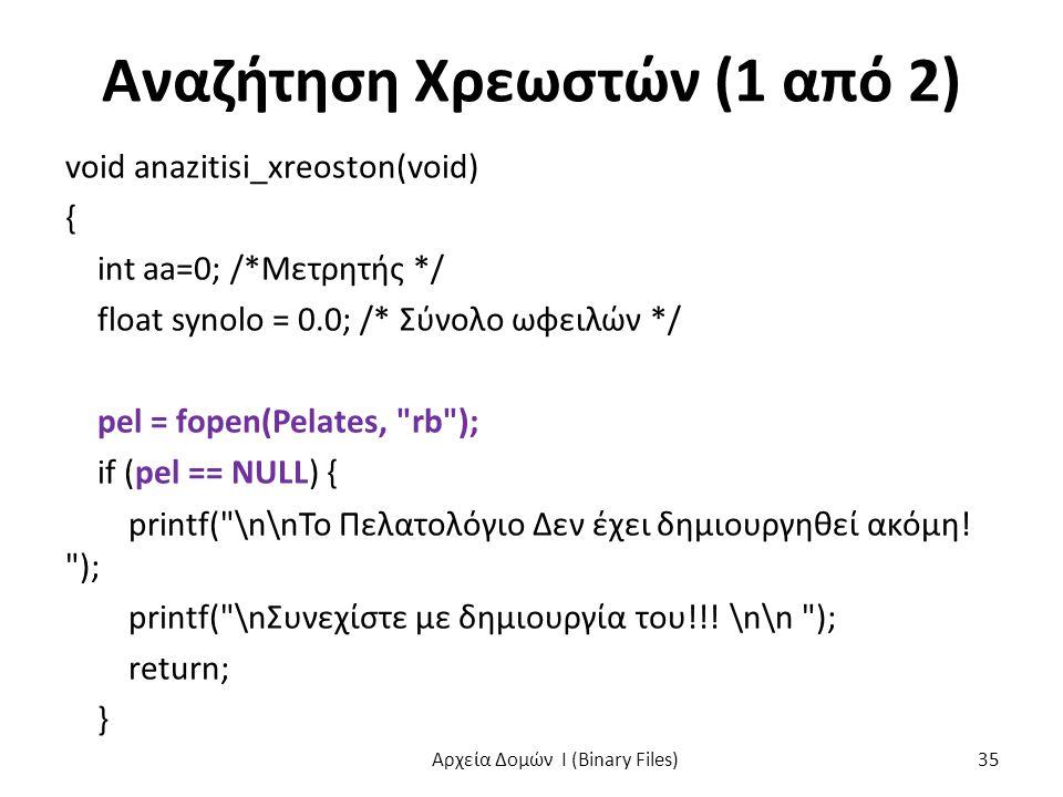 Αναζήτηση Χρεωστών (1 από 2) void anazitisi_xreoston(void) { int aa=0; /*Μετρητής */ float synolo = 0.0; /* Σύνολο ωφειλών */ pel = fopen(Pelates, rb ); if (pel == NULL) { printf( \n\nΤο Πελατολόγιο Δεν έχει δημιουργηθεί ακόμη.