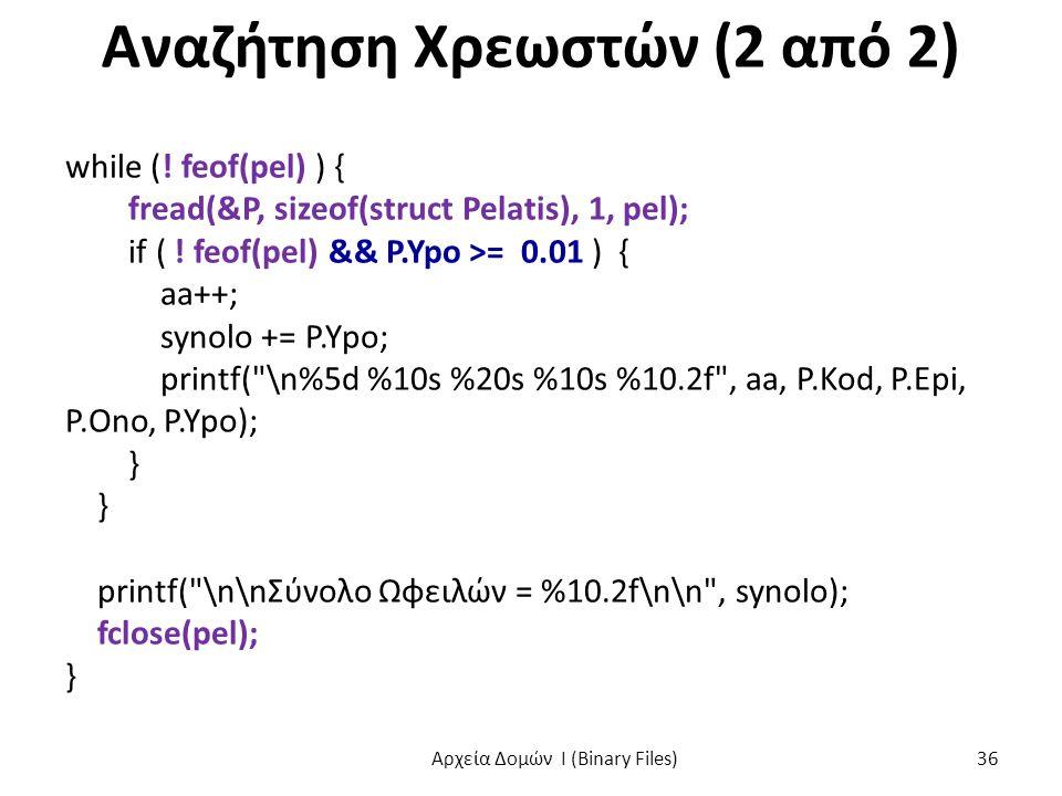 Αναζήτηση Χρεωστών (2 από 2) while (! feof(pel) ) { fread(&P, sizeof(struct Pelatis), 1, pel); if ( ! feof(pel) && P.Ypo >= 0.01 ) { aa++; synolo += P
