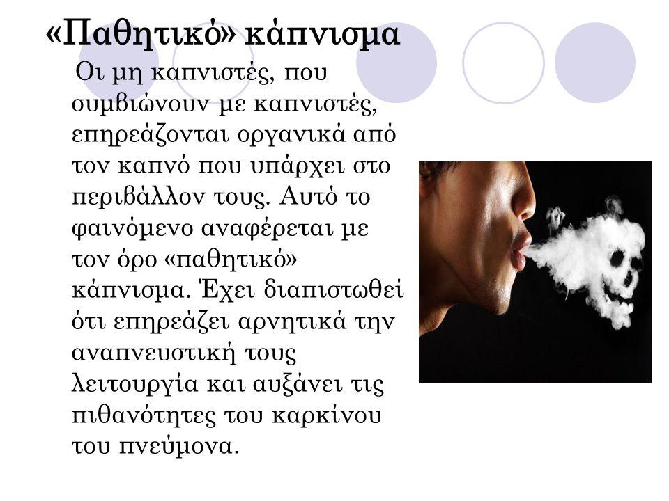 «Παθητικό» κάπνισμα Οι μη καπνιστές, που συμβιώνουν με καπνιστές, επηρεάζονται οργανικά από τον καπνό που υπάρχει στο περιβάλλον τους. Αυτό το φαινόμε
