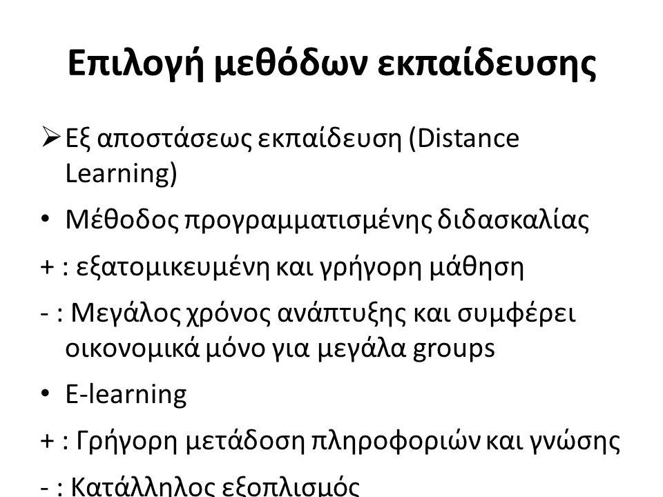 Επιλογή μεθόδων εκπαίδευσης  Εξ αποστάσεως εκπαίδευση (Distance Learning) Μέθοδος προγραμματισμένης διδασκαλίας + : εξατομικευμένη και γρήγορη μάθηση