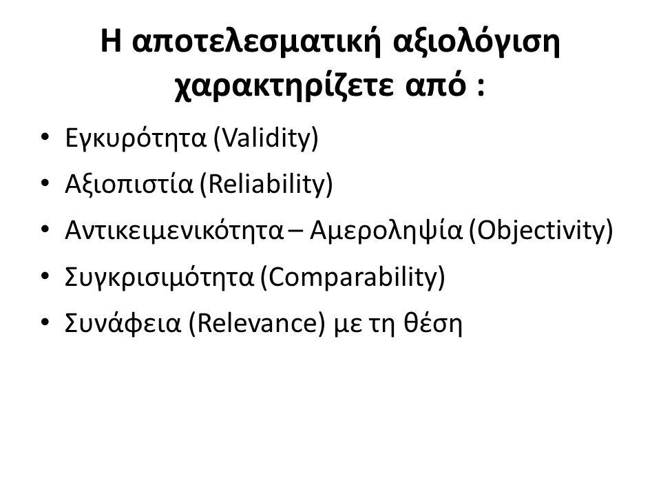Η αποτελεσματική αξιoλόγιση χαρακτηρίζετε από : Εγκυρότητα (Validity) Αξιοπιστία (Reliability) Αντικειμενικότητα – Αμεροληψία (Objectivity) Συγκρισιμό