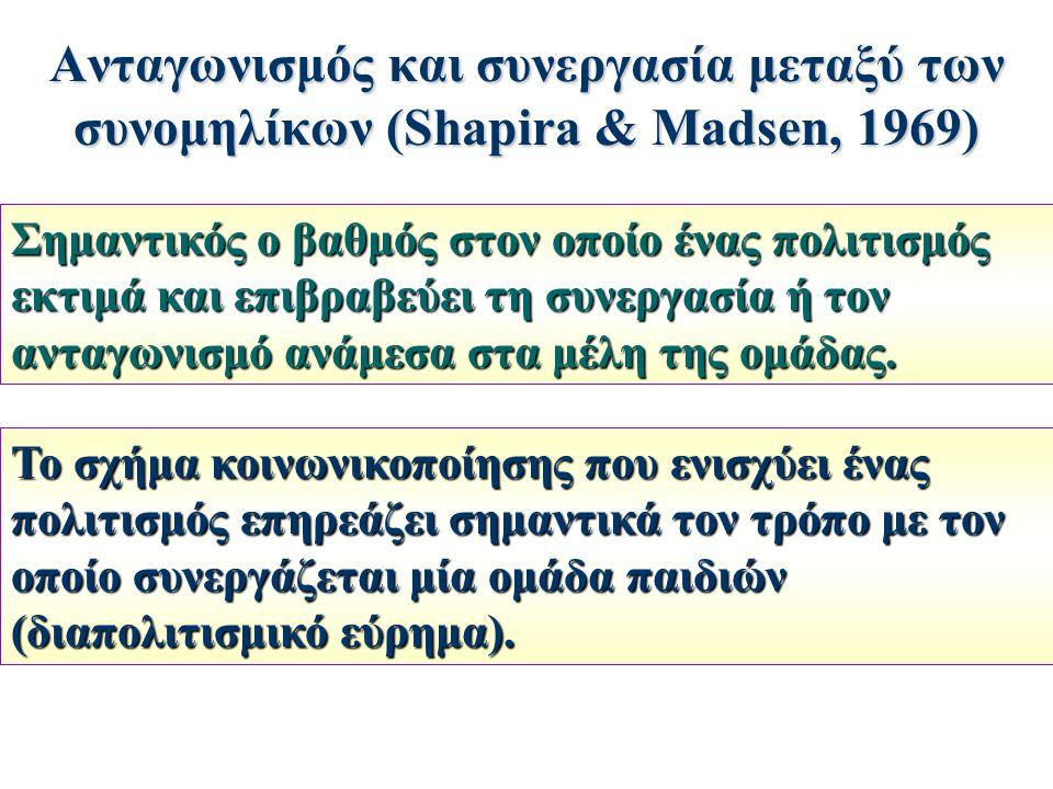 Ανταγωνισμός και συνεργασία μεταξύ των συνομηλίκων (Shapira & Madsen, 1969) Σημαντικός ο βαθμός στον οποίο ένας πολιτισμός εκτιμά και επιβραβεύει τη σ