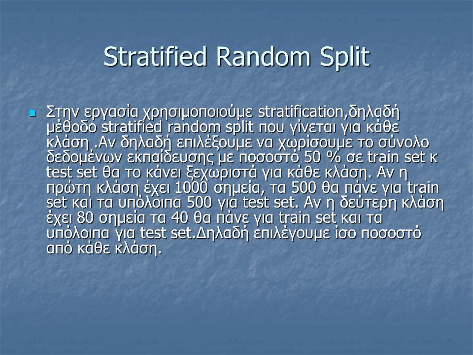 Stratified Random Split Στην εργασία χρησιμοποιούμε stratification,δηλαδή μέθοδο stratified random split που γίνεται για κάθε κλάση.Αν δηλαδή επιλέξου